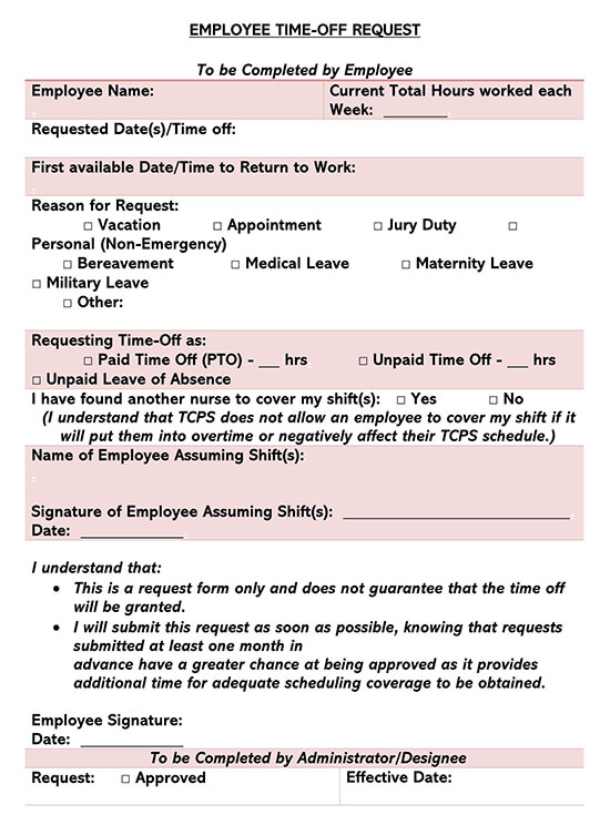 Employee Time-Off Request Form 04