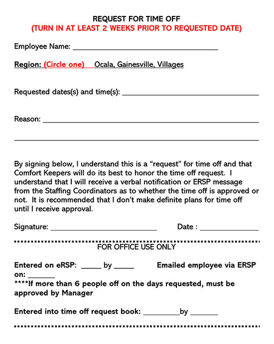 Employee Time-Off Request Form 07