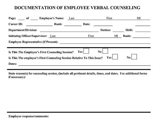 Employee Verbal Counseling Form