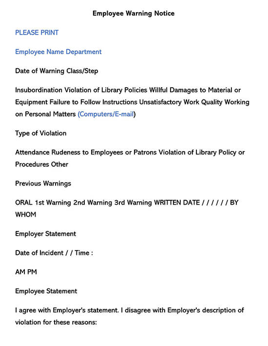 Employee Warning Form 05