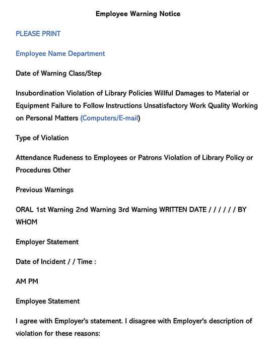 Employee Warning Form 05
