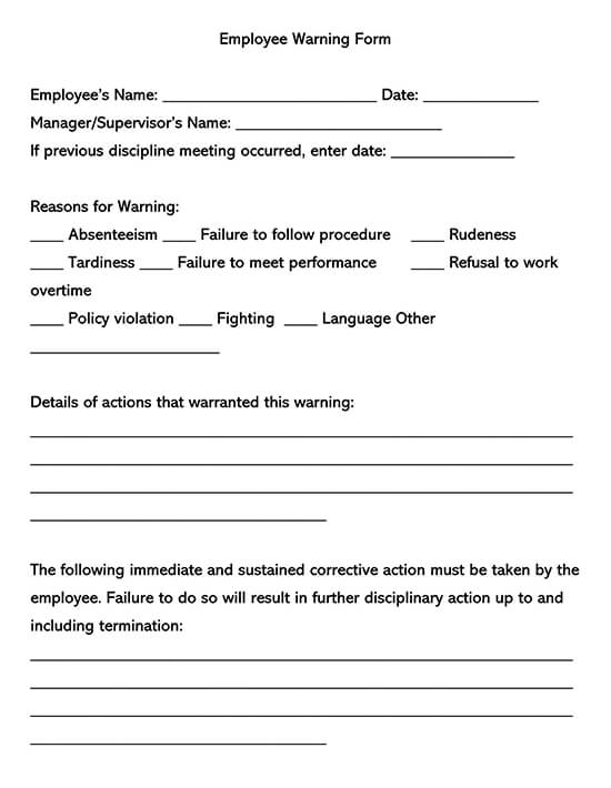 Employee Warning Word Form