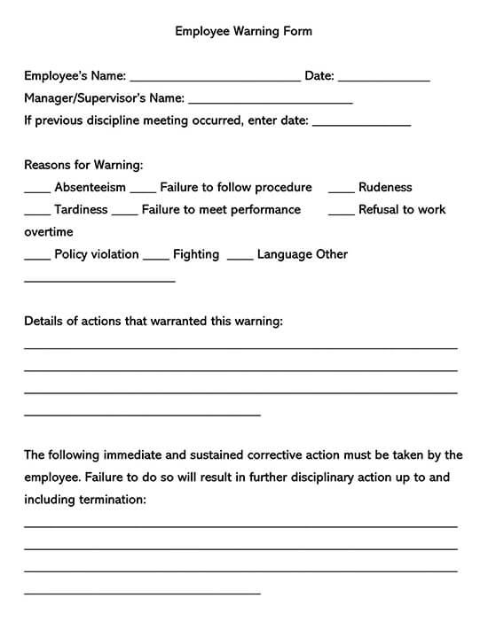 Employee Warning Word Form