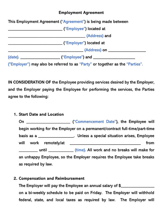 Employment Contract Word Agreement
