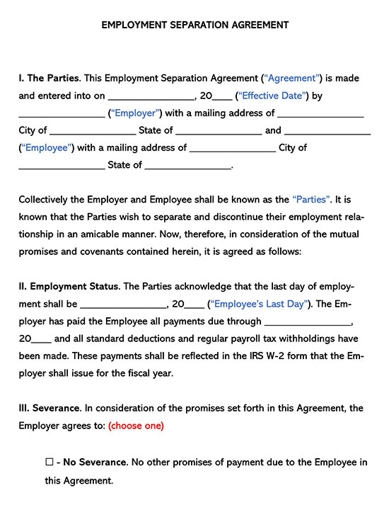 Employment Separation Word Agreement