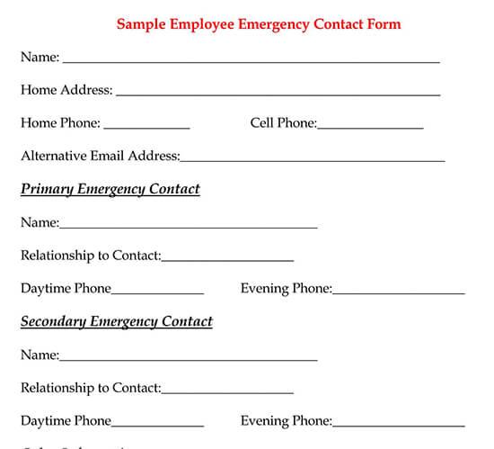 Example Employee Emergency Contact Form
