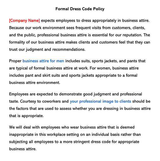 Formal Dress Code Policy