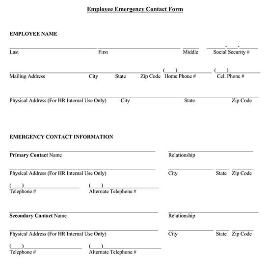 General Employee Emergency Contact Form