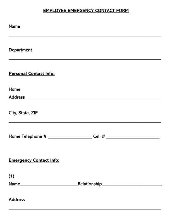 Generic Employee Emergency Contact Form