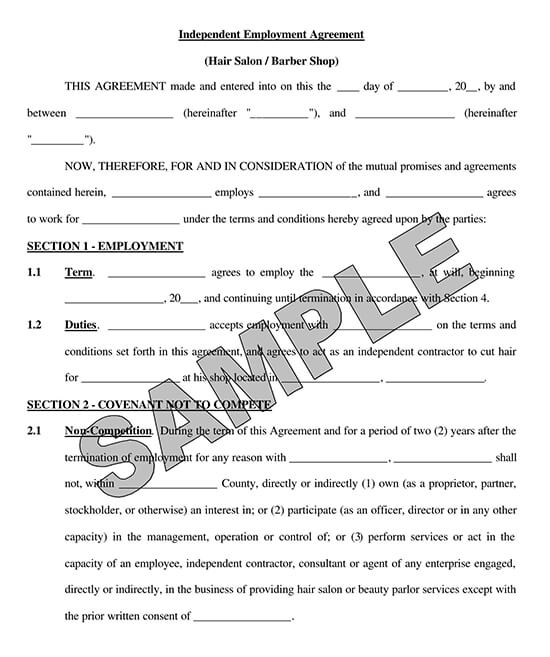 Hair Salon Independent Contractor Agreement