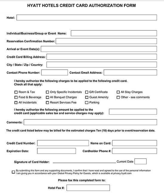 Hyatt Credit Card Authorization Form