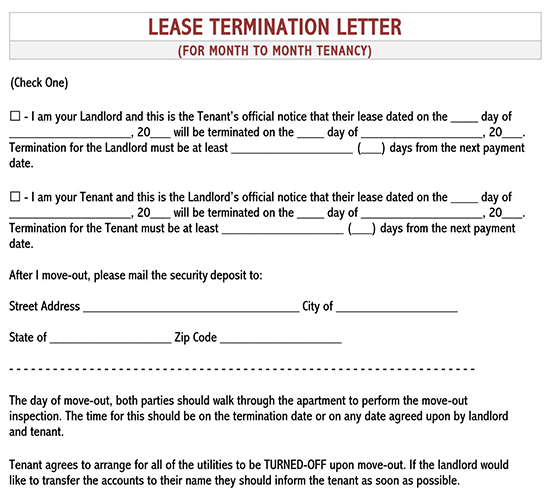 sample letter of termination of tenancy agreement by tenant