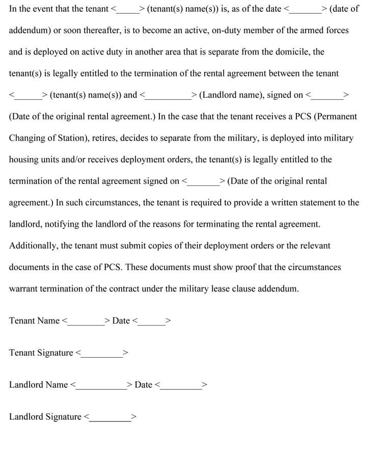 Military Clause Addendum Agreement