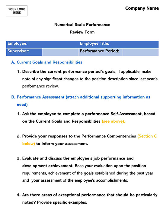 Performance Evaluation Numerical Scale Form