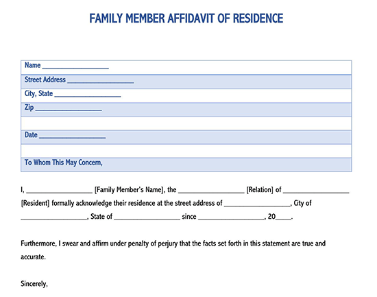 how to prove residency when you live in a relatives home
