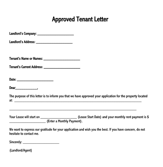 rental letter