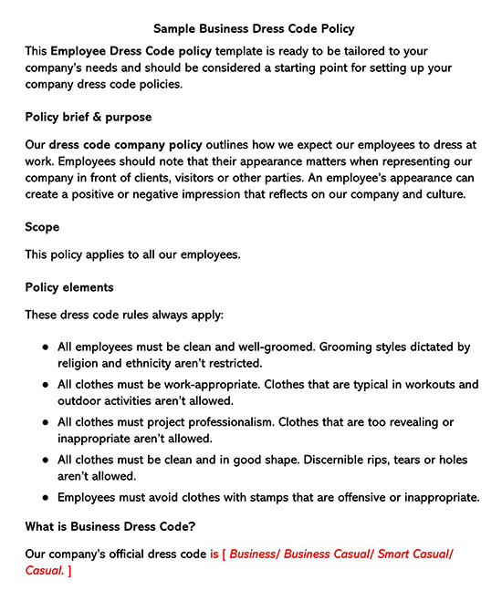Sample Business Dress Code Policy