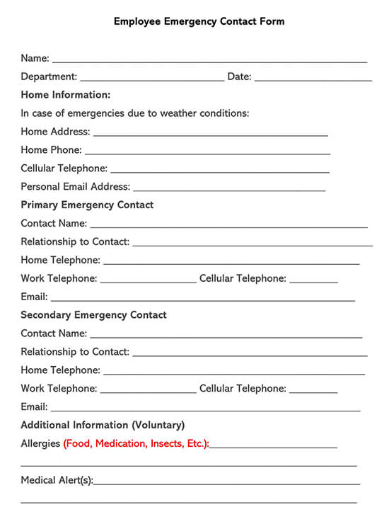 Sample Employee Emergency Contact Form