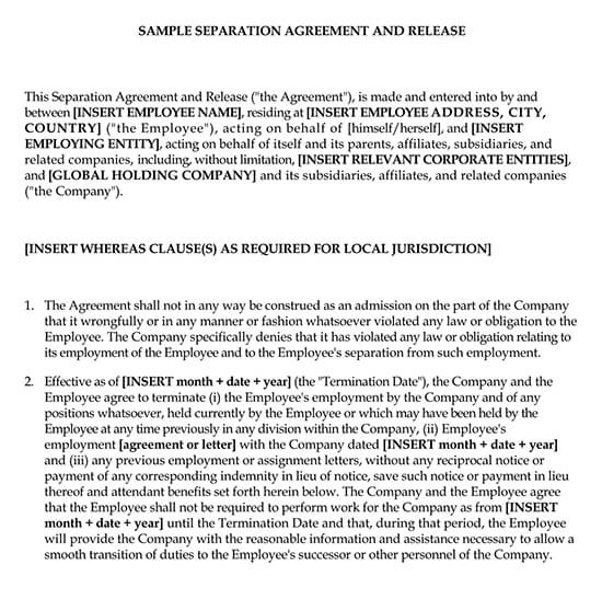 Sample Employment Separation Agreement and Release Form