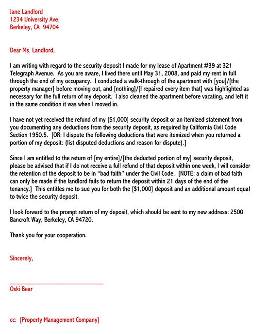 Sample Security Deposit Refund Letter from www.wordtemplatesonline.net