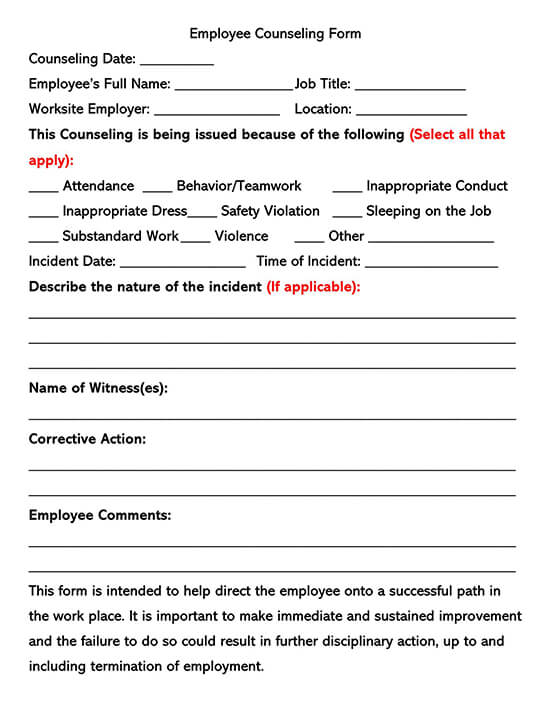 Simple Employee Counseling Form