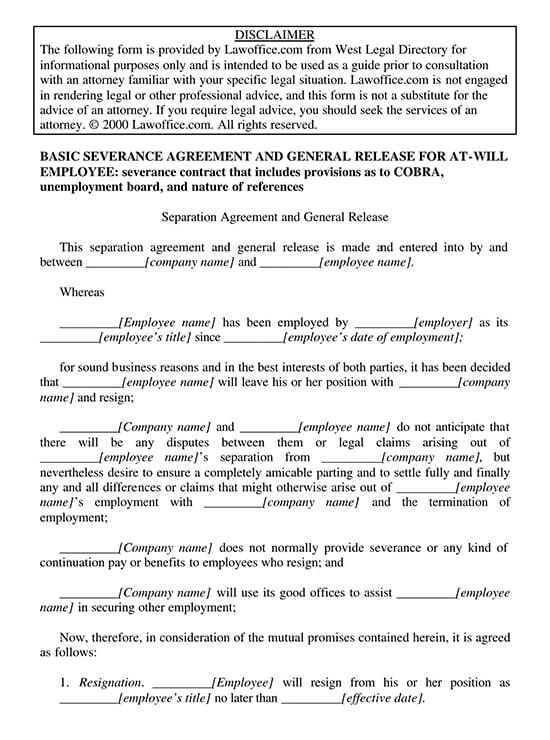 Standard Employment Separation Agreement Template