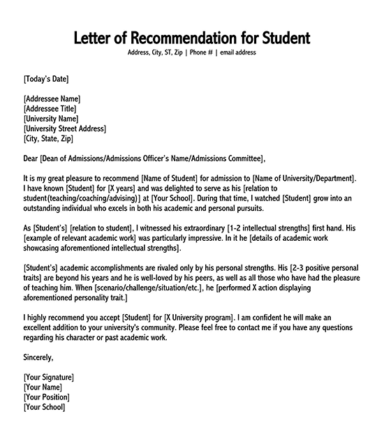 letter of recommendation template word 10