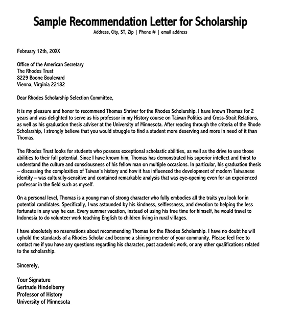 recommendation letter sample for student 11