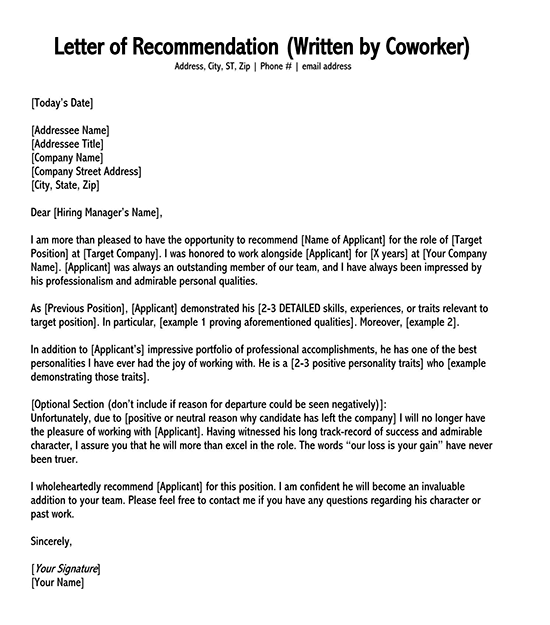 letter of recommendation template word 11