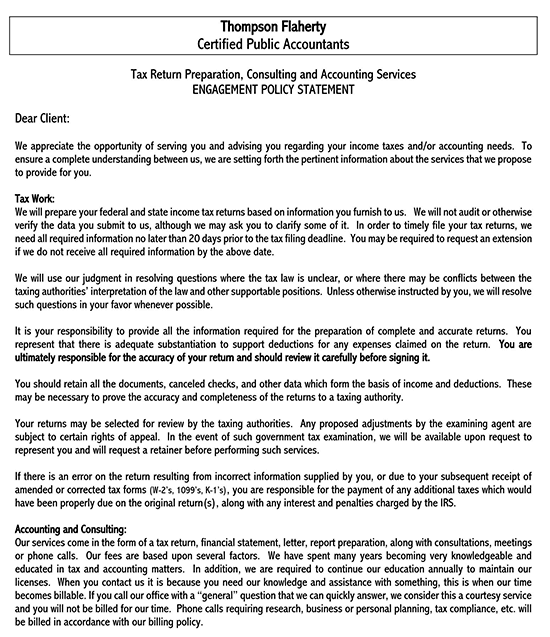 consulting engagement letter sample