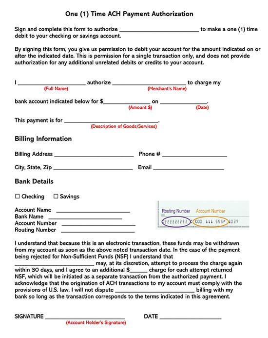1-Time ACH Payment Authorization Form