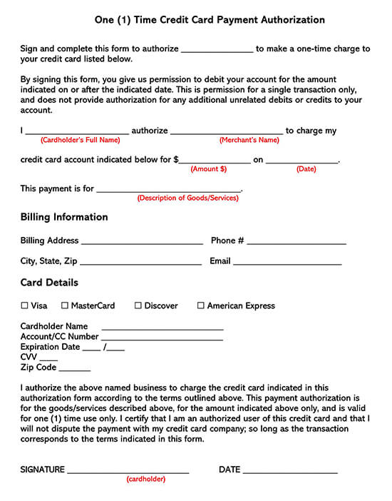 1-Time Credit Card Payment Authorization Form