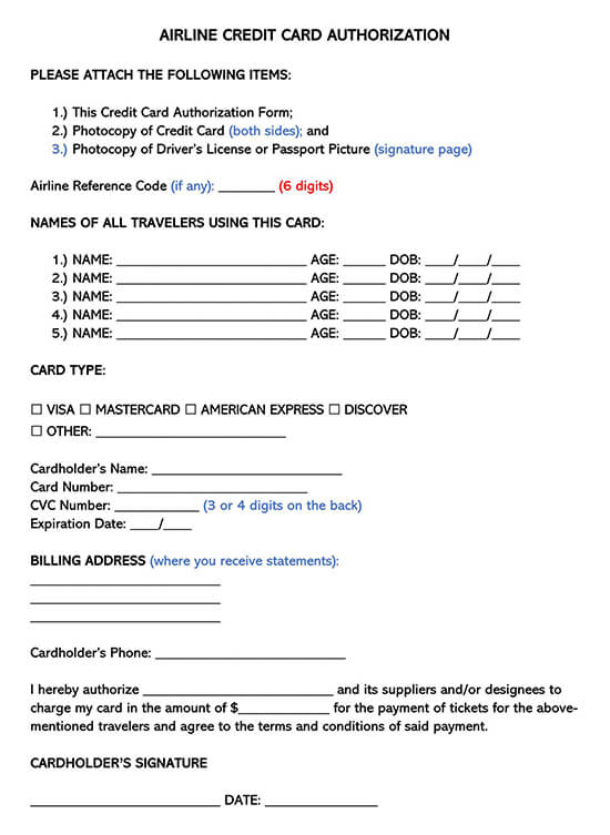 Airline Credit Card Authorization Form