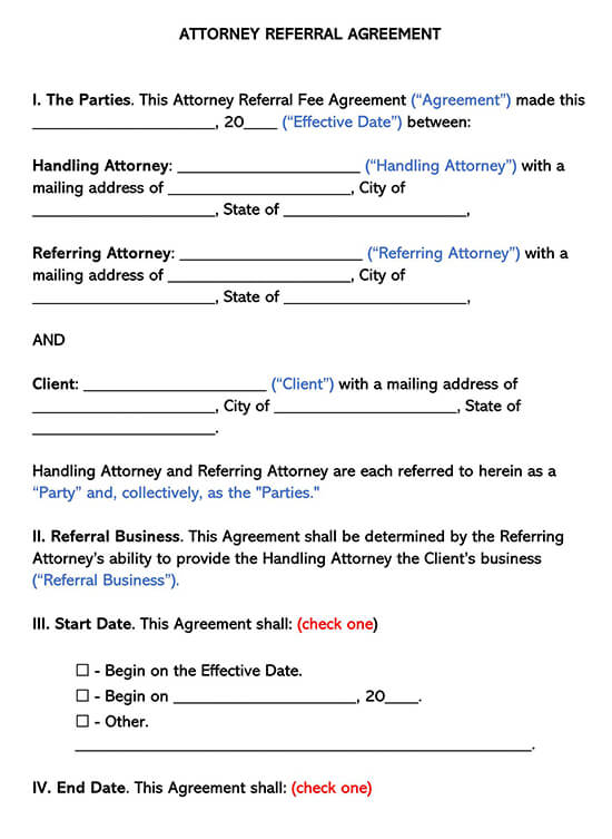 Attorney Fillable Referral Agreement