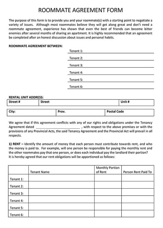 Blank College Roommate Agreement Form Example