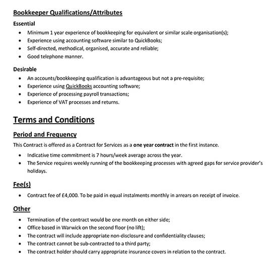 Bookkeeper Contract for Services