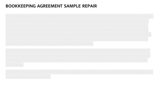 Bookkeeping Agreement Sample