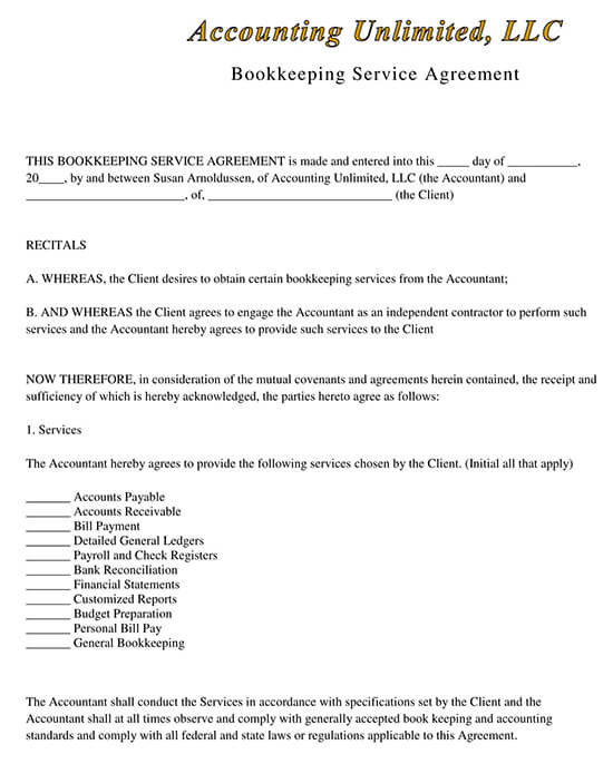 Bookkeeping Services Agreement Contract