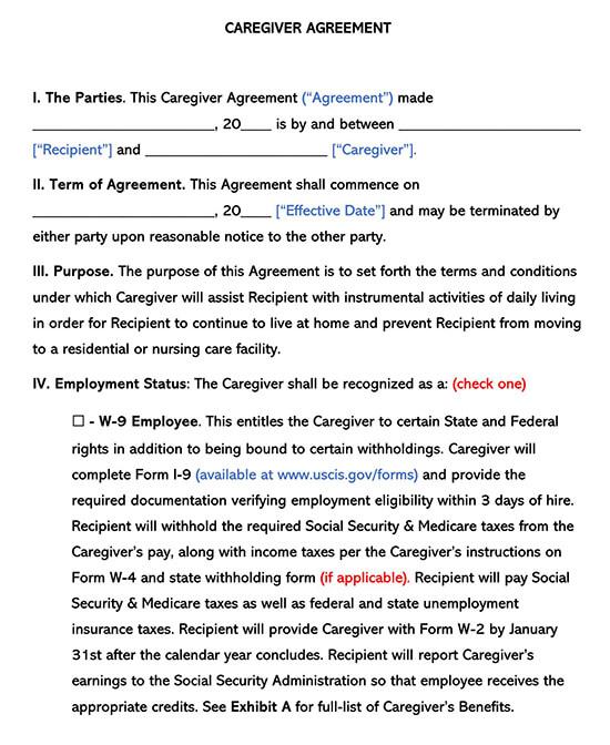 Caregiver Independent Contractor Agreement