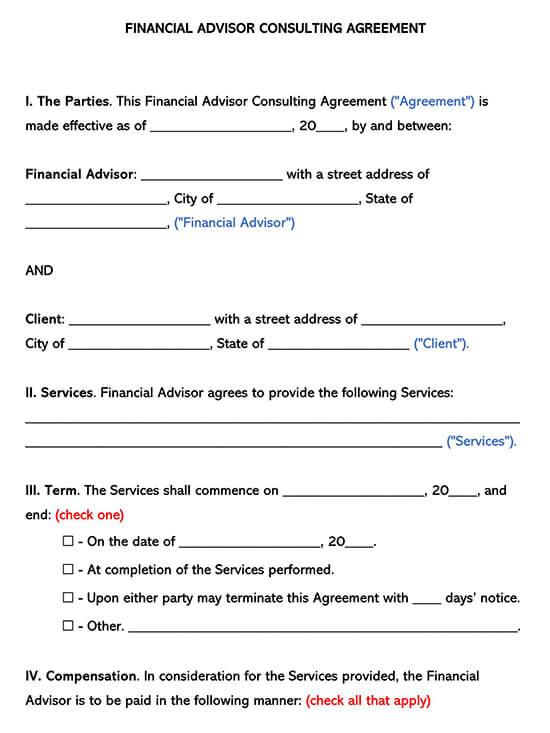 Financial Advisor Consultant Agreement