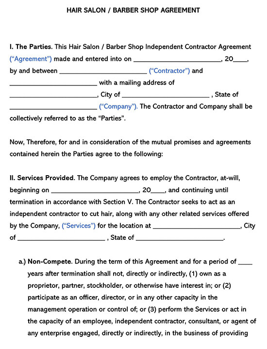 Hair Salon Barbershop Independent Contractor Agreement