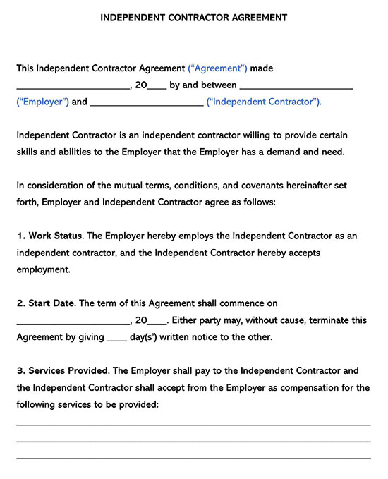Independent Contractor Agreement Simple