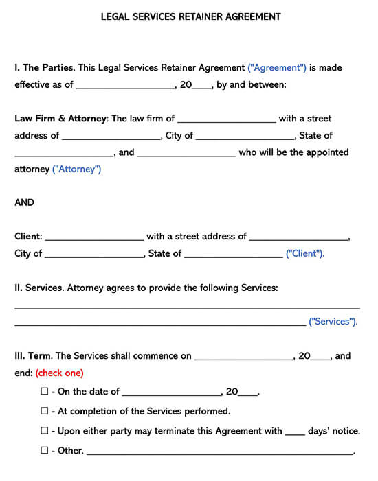 Legal Services Retainer Agreement