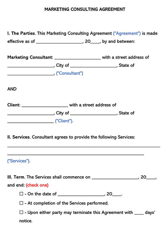 Marketing Consultant Agreement