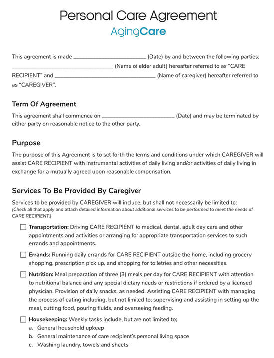 Personal Caregiver Agreement