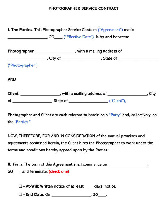 Photographer Service Contract