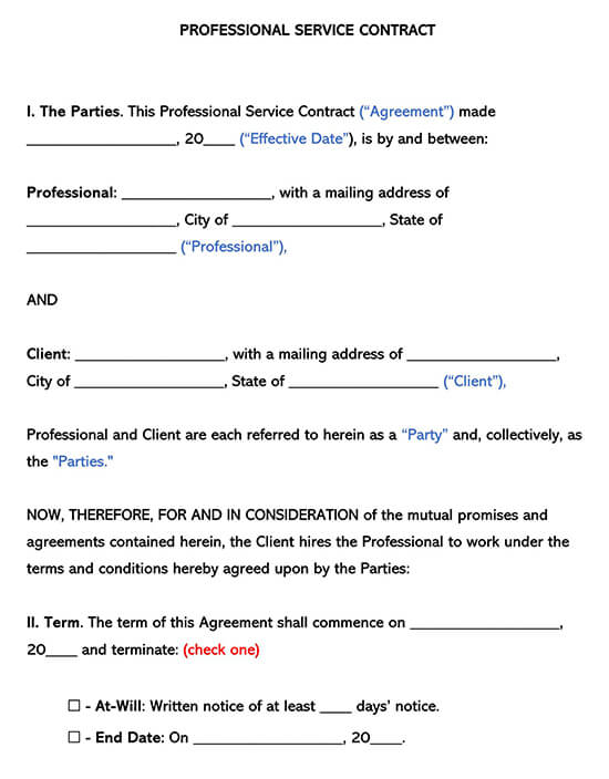 Professional Service Contract