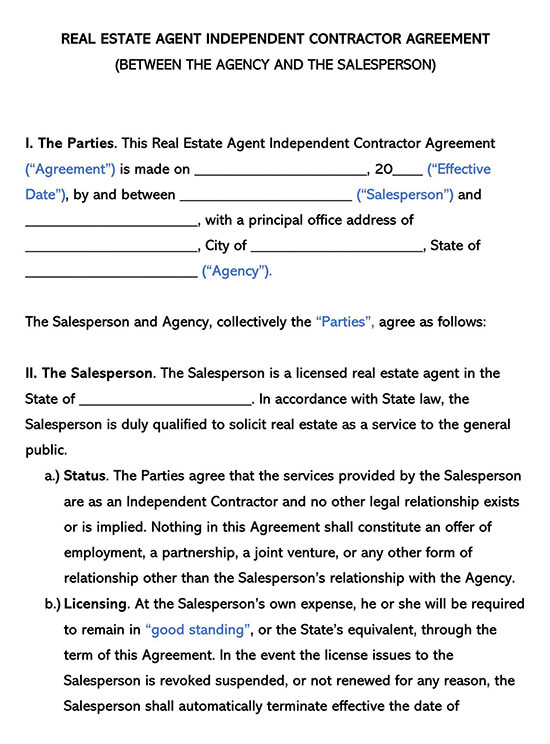 Real Estate Agent Independent Contractor Agreement