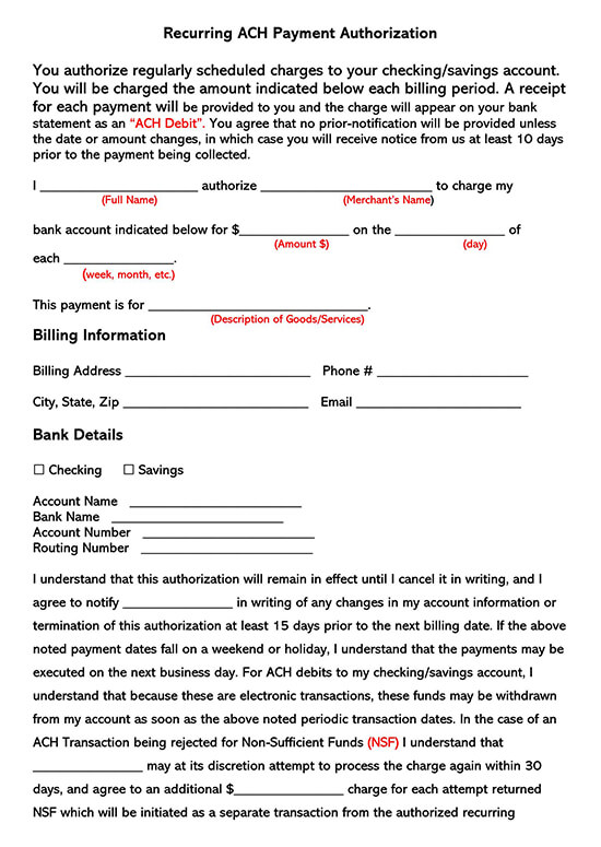 Recurring ACH Authorization Payment Form