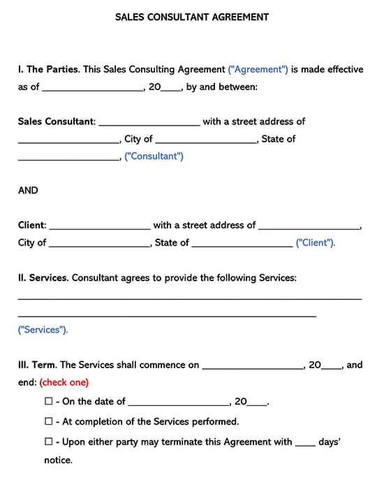 Sales Consultant Agreement